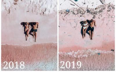 Pink Beach Penuh Sampah, Pasangan Traveler ini Sedih